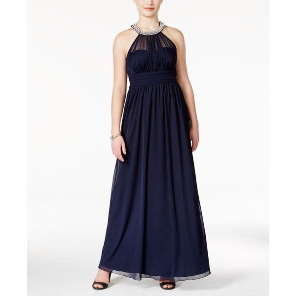Speechless Juniors\' Embellished Pearl Neck Illusion Ruched Gown ($59 ...