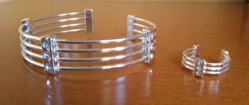 Parure-bracelet-bague-rigides-reglables-metal-argent-strass-diamant-LBVYR-Neufs