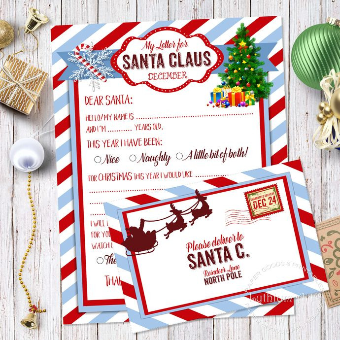 Letter to santa kit santa letter kit with envelope template letter letter to santa kit santa letter kit with envelope template letter to santa instant download printable letter to santa christmas letter spiritdancerdesigns Images