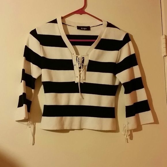 Striped cropped sweater Flare sleeves, drawstring ties. Very cute ...