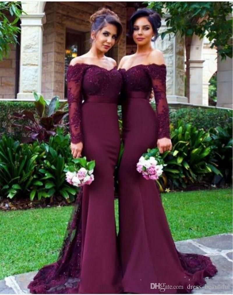burgundy long sleeve mermaid bridesmaid dress lace appliques