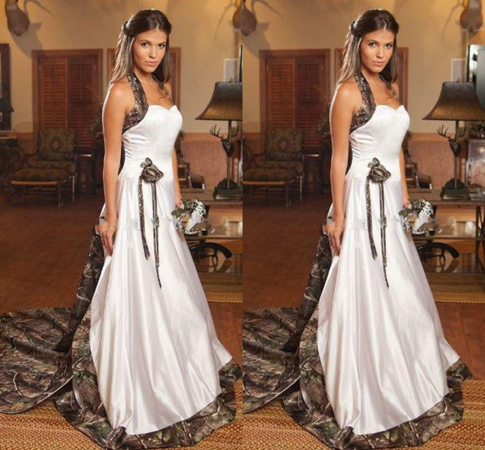 Wedding dresses camo  Click to Buy ucuc Vintage Gothic Camo Wedding Dresses  Long Halter