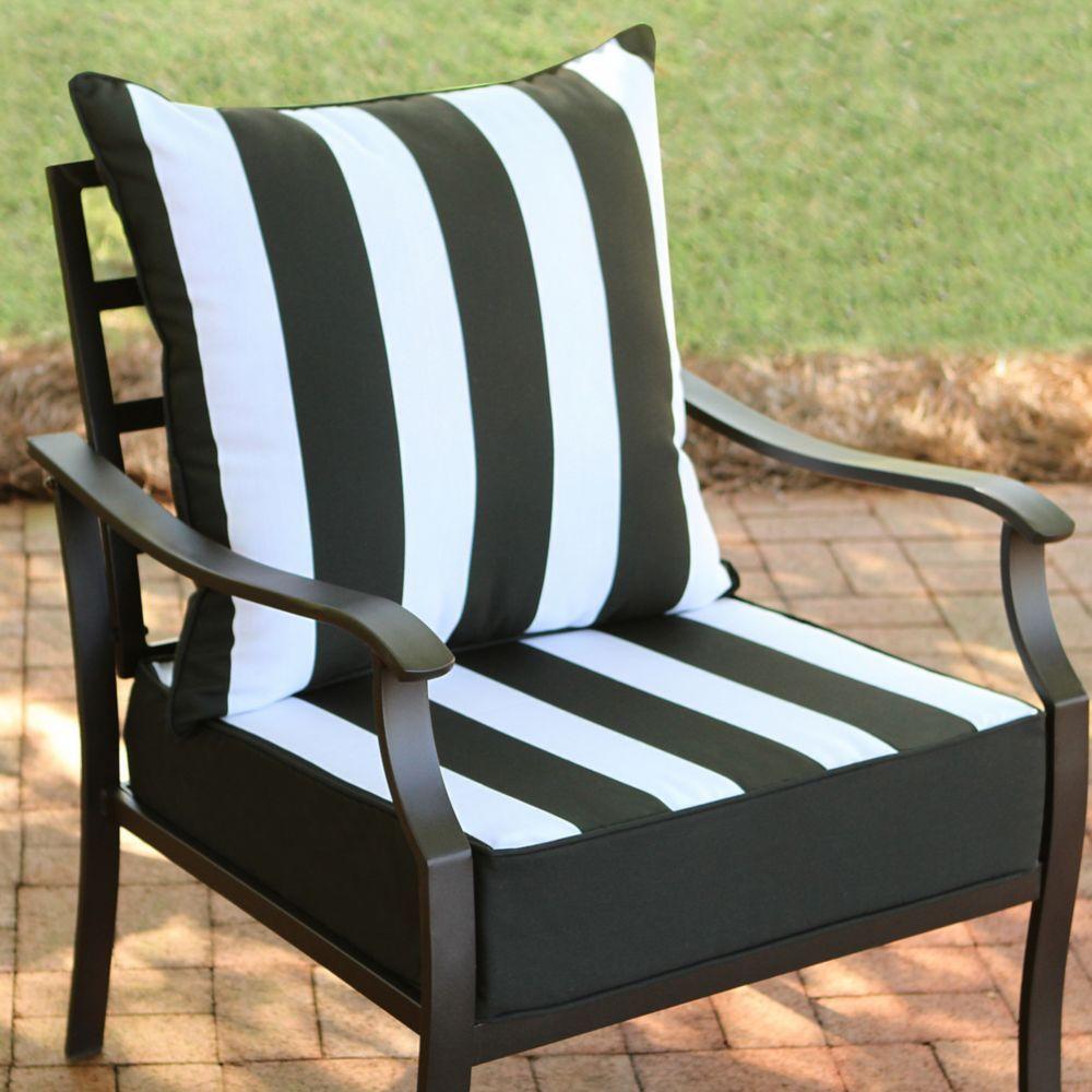 2 Piece Deep Seat Set Black Cabana Stripe (With images
