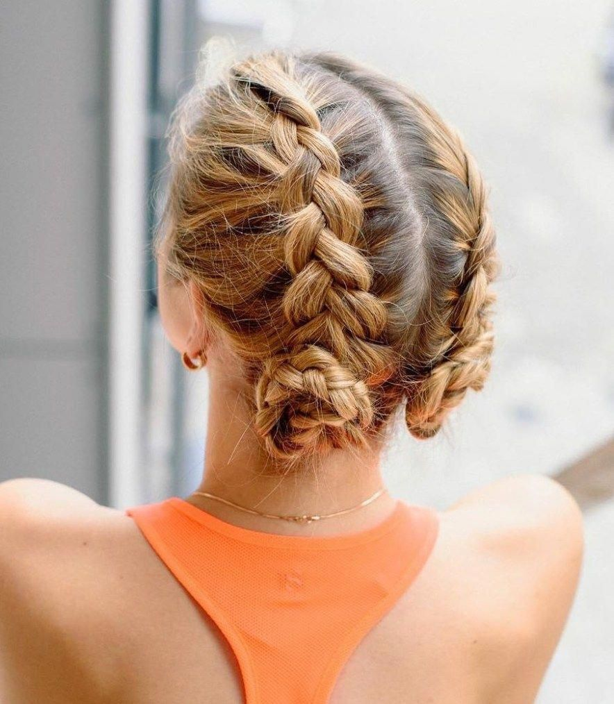 Sleek Dutch Braids Into Small Buns Braidsforlonghair In 2020 Sports Hairstyles Competition Hair Sporty Hairstyles
