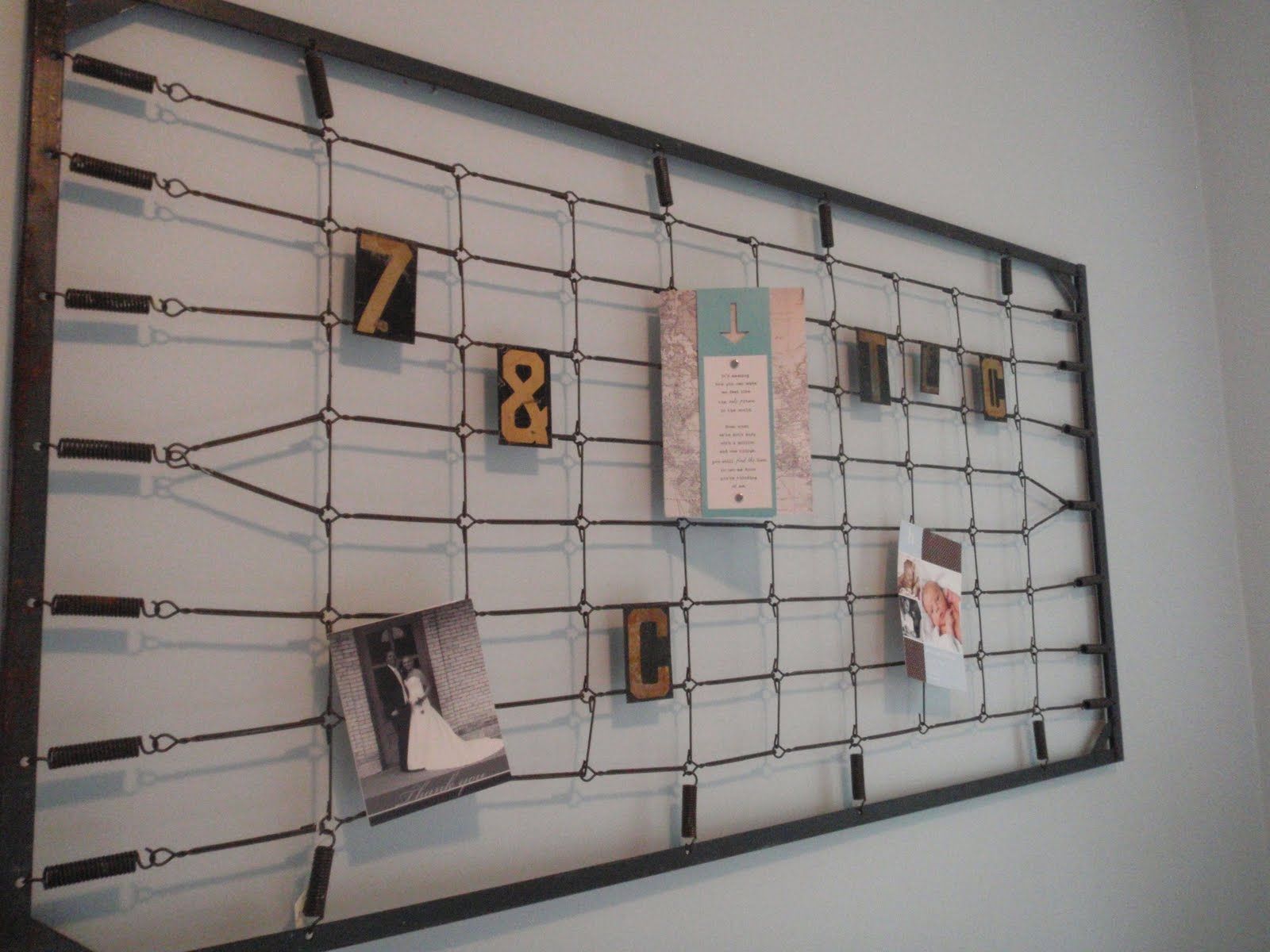 How creative! An old bed spring as a memo board. | Wall Decor Ideas ...