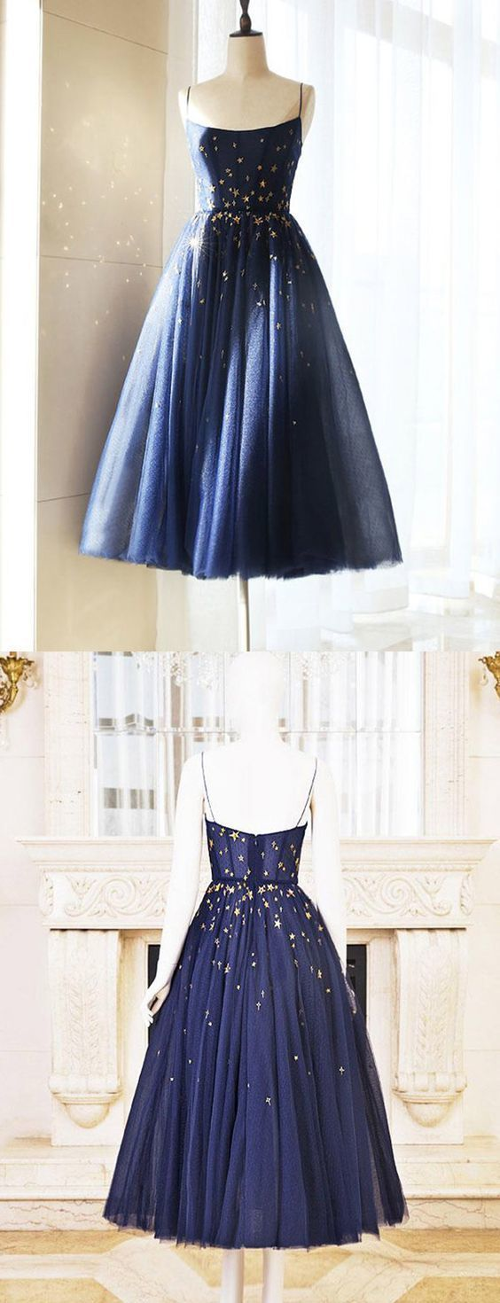 Charming A-Line Spaghetti Straps Navy Blue Short Homecoming/Prom Dress