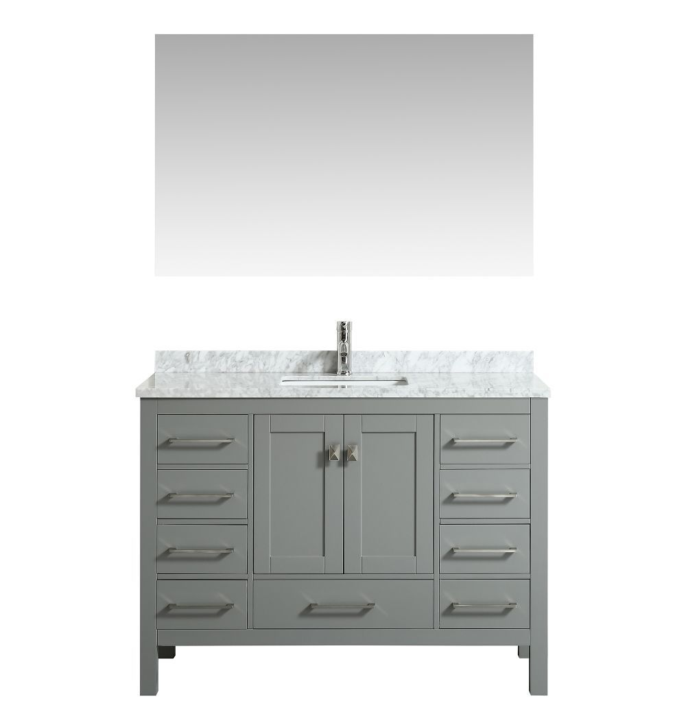 ad4ab89ed88 Eviva London 48 In. Transitional Grey Bathroom Vanity With White Carrara  Marble Countertop
