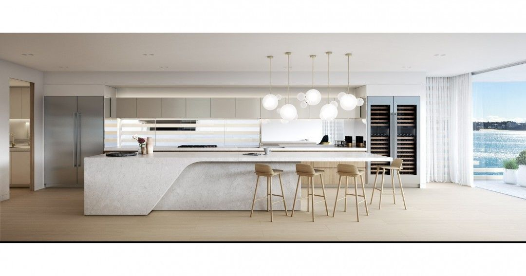 Bom dia! Que tal acordar e tomar café da manhã em uma #cozinha com esta vista maravilhosa? Esta aqui fica em um novo empreendimento chamado The Bower, em Sydney, na Austrália, e custa a bagatela de quase 10 milhões de dólares a unidade. Com projeto do estúdio Mim Design (@mimdesignstudio), os #interiores primam pelas cores claras e #revestimentos como a #madeira e o #mármore. A ilha central traz espaço para refeições, e o #ambiente faz conexão com a área externa através do fechamento de…