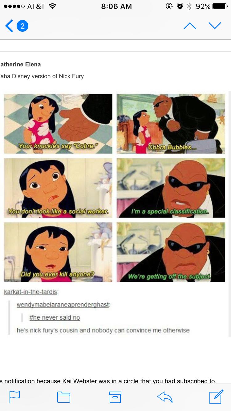 Nick Fury has always been a part of Disney Disney funny