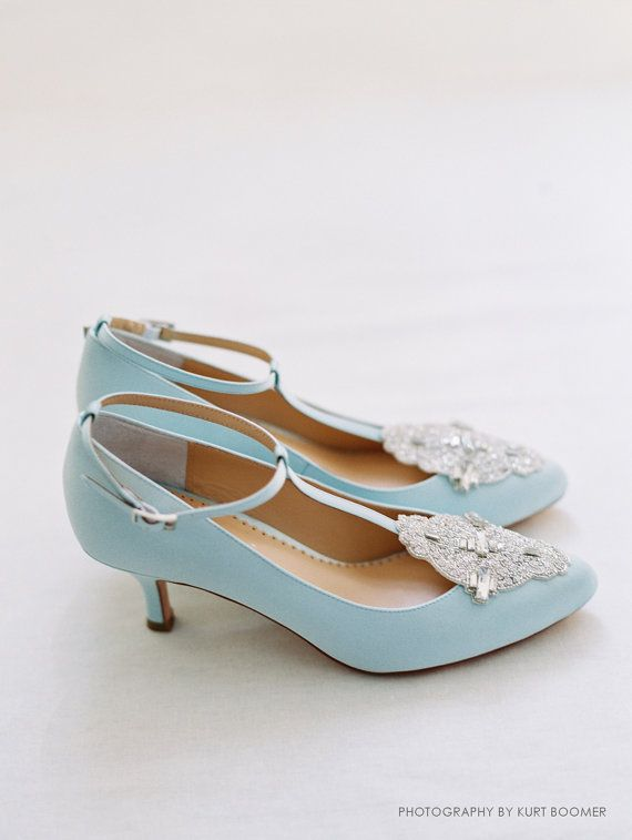 Art Deco Something Blue Wedding Shoes Great Gatsby Crystal Applique T Strap Kitten Heel Silk Satin Bridal Bella Belle Annalise