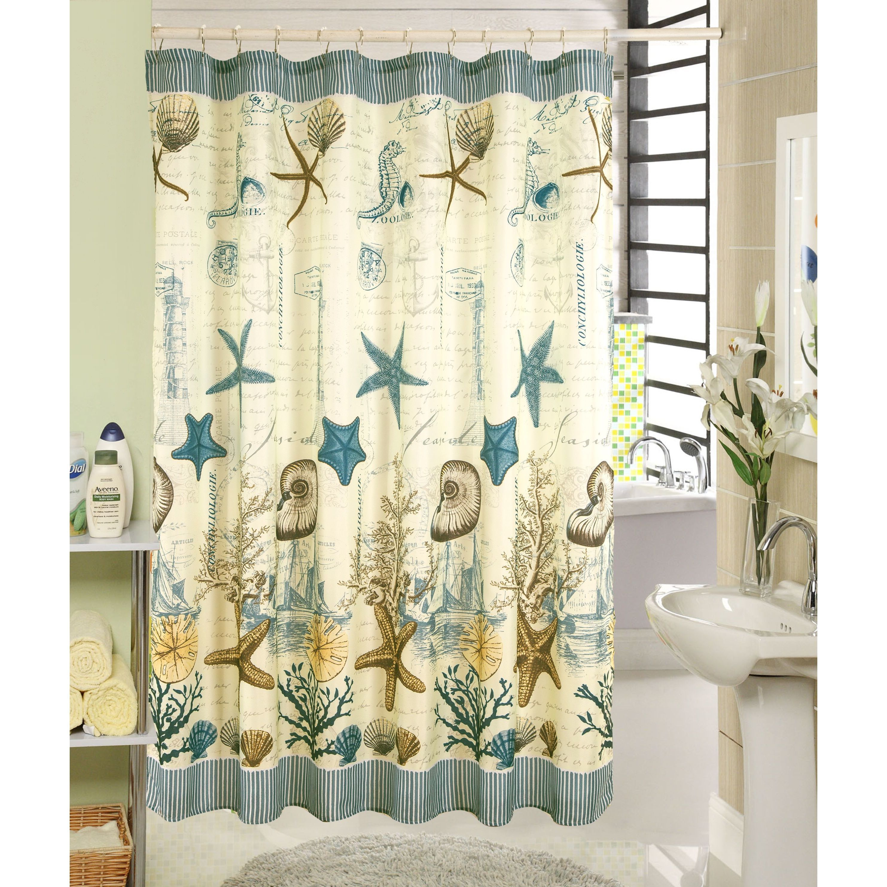 Rt designers collection ocean printed canvas shower curtain and hook