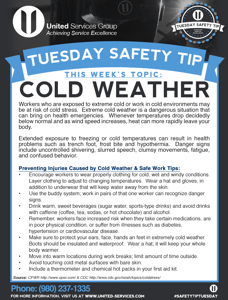 This week's Tuesday Safety Tip is about Cold Weather