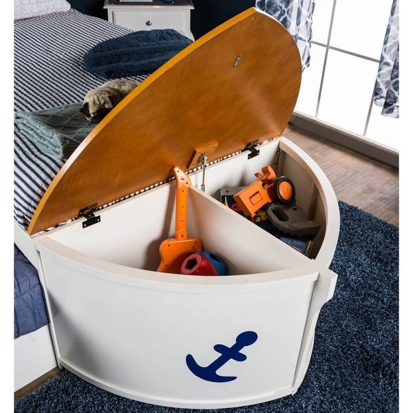 Boat Bed With Trundle And Toy Box Storage: Furniture Of America Capitaine Boat Twin Bed With Trundle