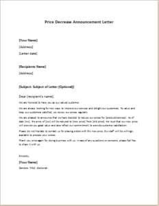 Price Decrease Announcement Letter Download At HttpWriteletter