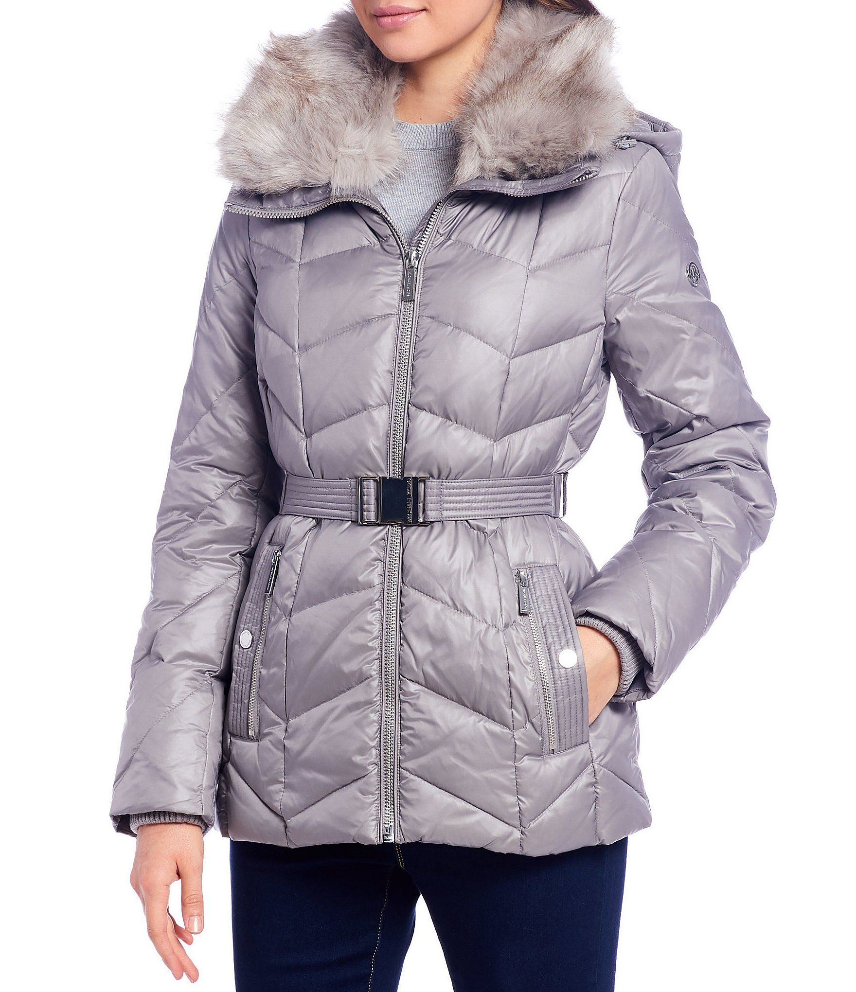 Michael Michael Kors Removable Faux Fur Collar Belted Down Puffer Coat Dillards Coats Jackets Women Coats For Women Down Puffer Coat [ 2040 x 1760 Pixel ]