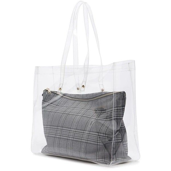 Forever21 Clear Tote Glen Plaid Pouch 1 790 Inr Liked On Polyvore Featuring