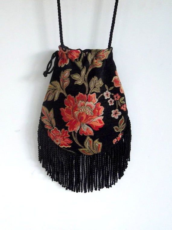 Floral Fringe Tapestry Gypsy Bag Black Cross Body Bag Bohemian Hippie Bag Festival Bag Renaissance bag Shoulder Bag Hand Bag