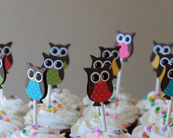 Owl Cupcake Toppers Owl Birthday Party Decorations Owl Party