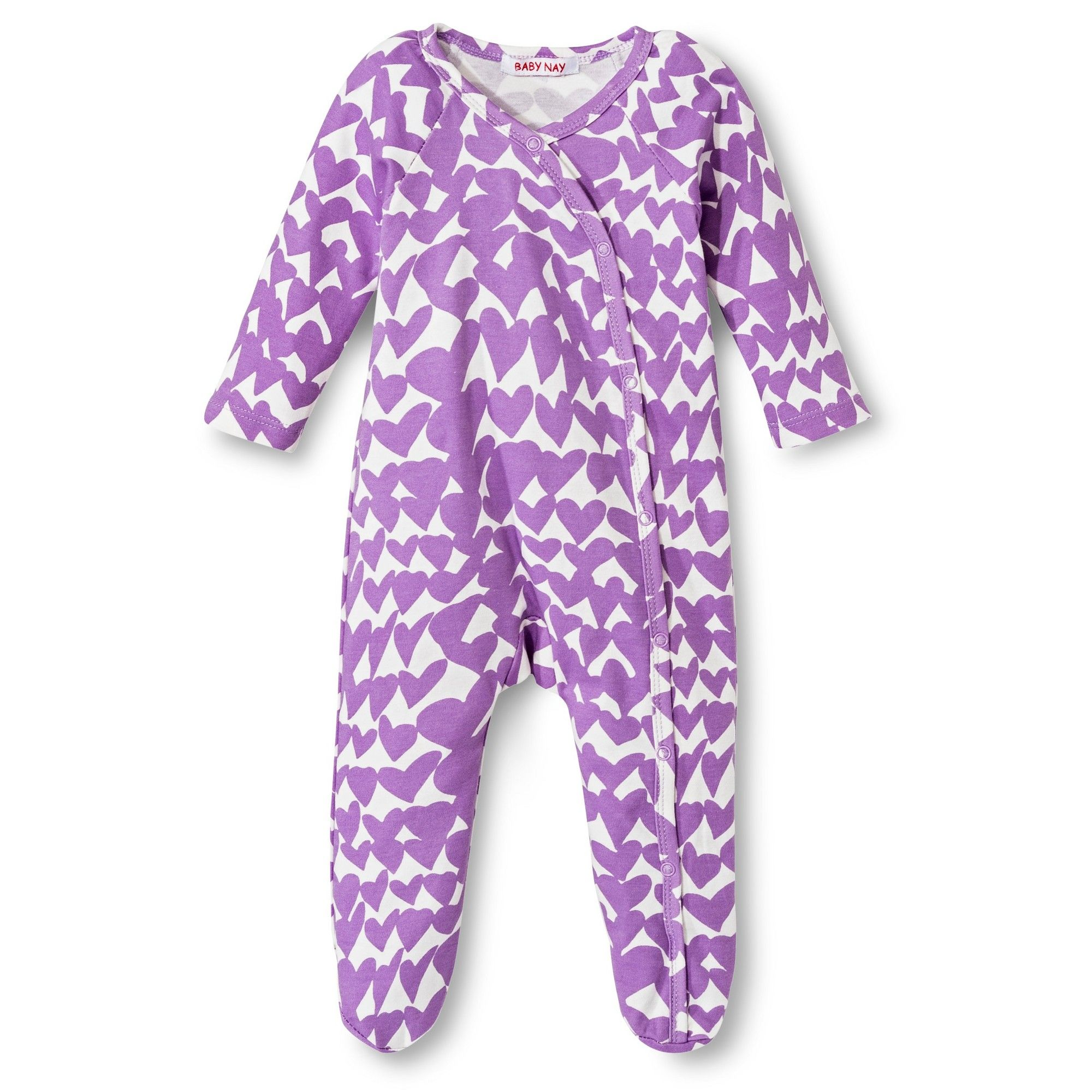 543430a36 Baby Nay Groovy Hearts Kimono Footie - Lilac 9 M