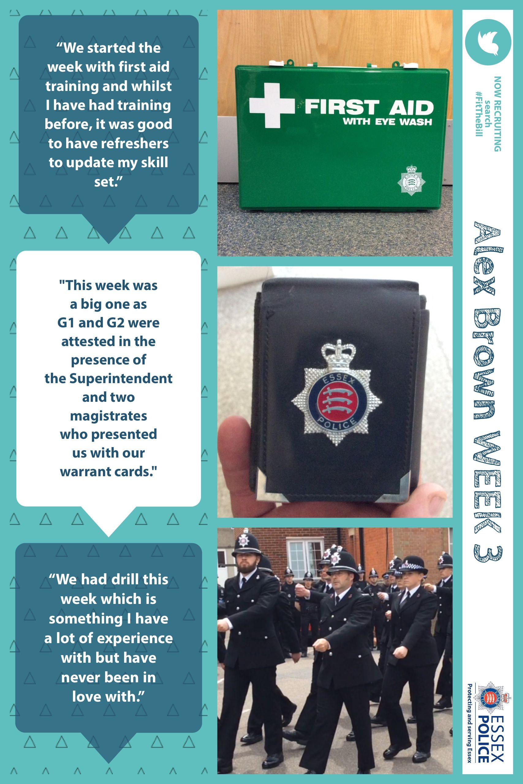 Pc Alex Brown joined us after a career in the military. He will be blogging about his training with Essex Police over the course of his 18 weeks with the Essex Police College.