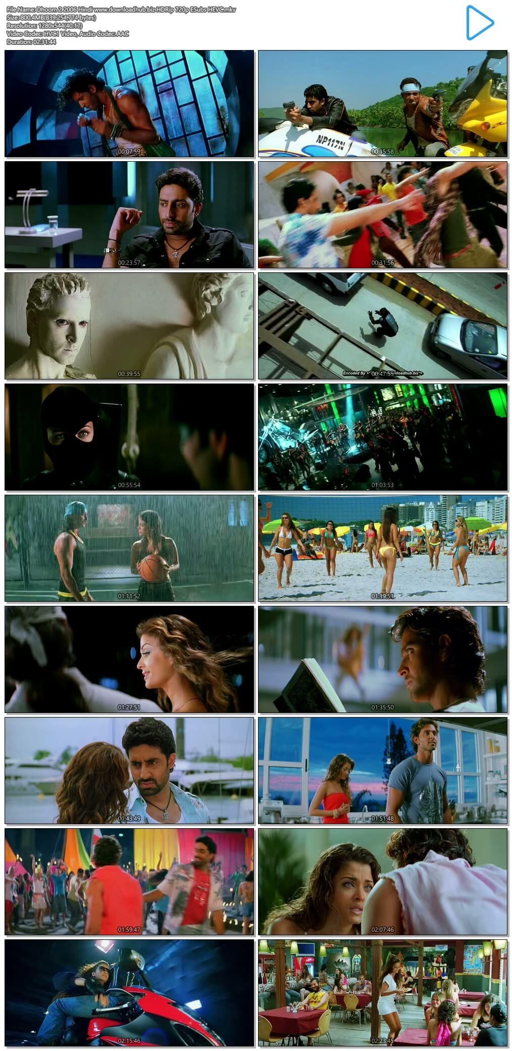 Dhoom 2 2006 Hindi 700mb Bluray 720p Esubs Hevc Dhoom 2 Best Bollywood Movies Free Movies Online