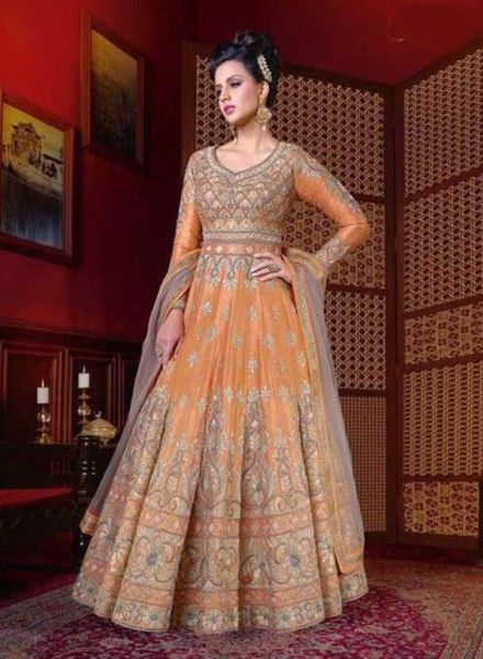 e83402730fe Light Orange Net Anarkali sku 518147 in 2019