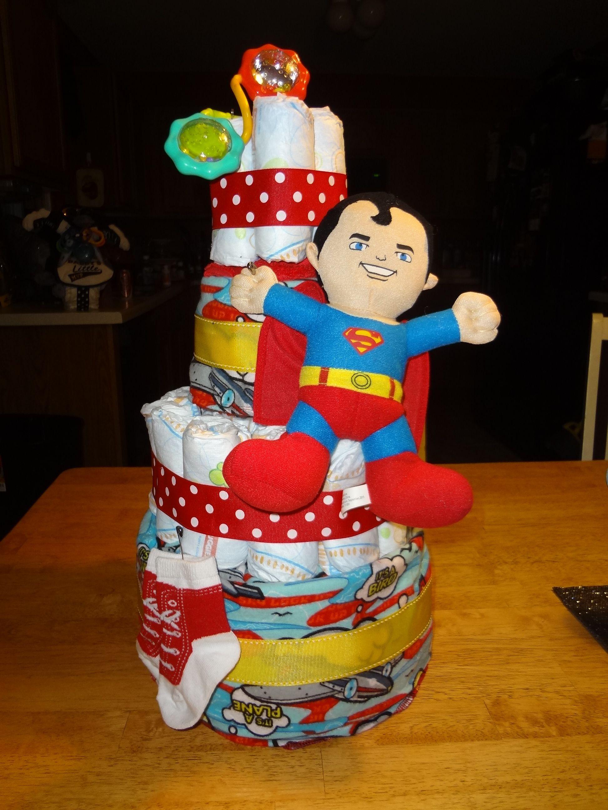 Superman Baby Shower Diaper Cake... Originally Designed By Me For A Best  Friendu0027s