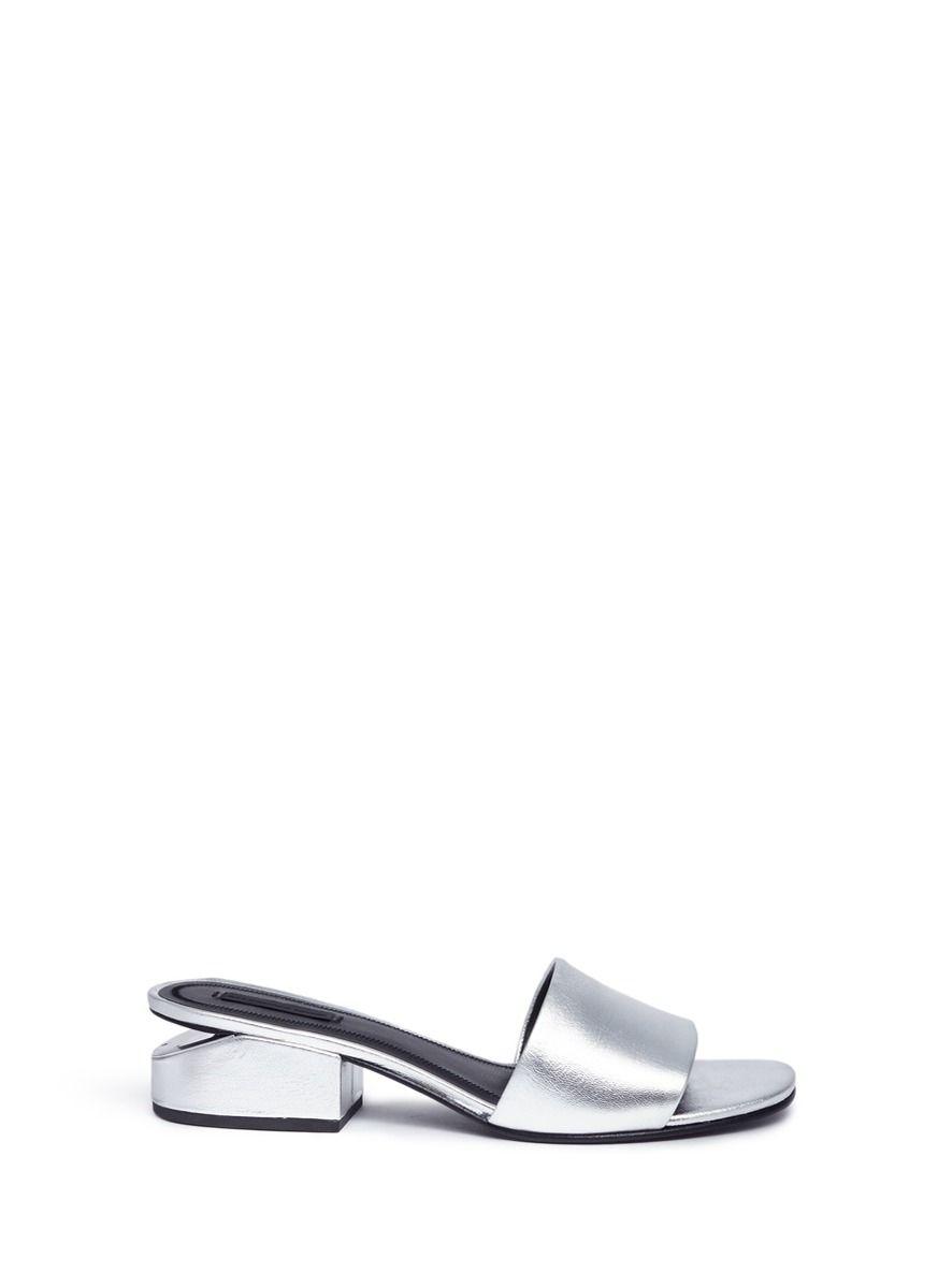 b996b48d295 ALEXANDER WANG  Lou  Cutout Heel Metallic Leather Slide Sandals.   alexanderwang  shoes  sandals