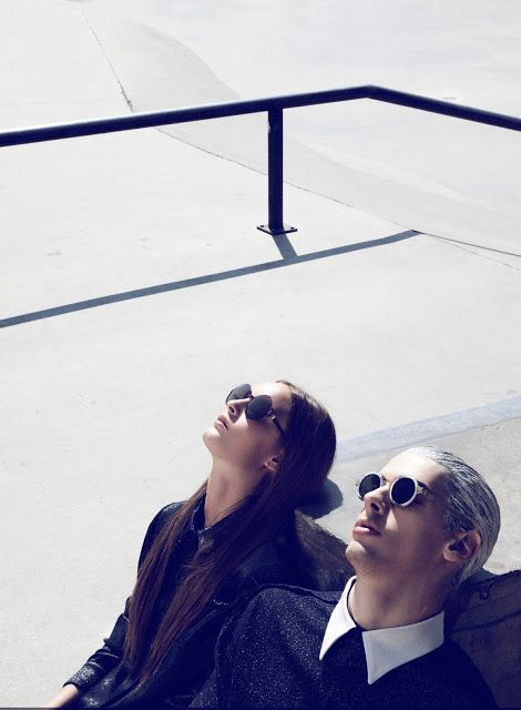 Javier Cudeiro and Adriana Escudero for TENMAG, shot by Pablo Curto #fashion #editorial #skateboard #couple #white #hair #accesories #sunglasses