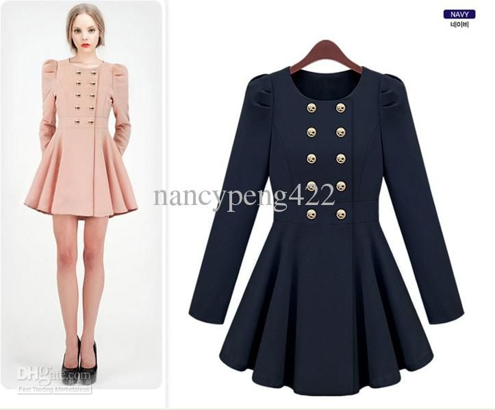 Ruffles trench coats for woman Cute bodycon maxi dresses Navy Blue ...