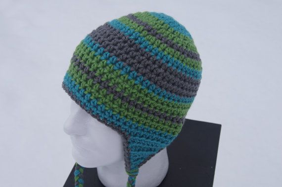 Great Christmas Gift Idea for someone you don't know what to get.  Who doesn't need a warm hat in the cold winter months. Adult Crocheted Hat with Ear Flaps in Gray Lush by TheTipsyTurtle, $25.00