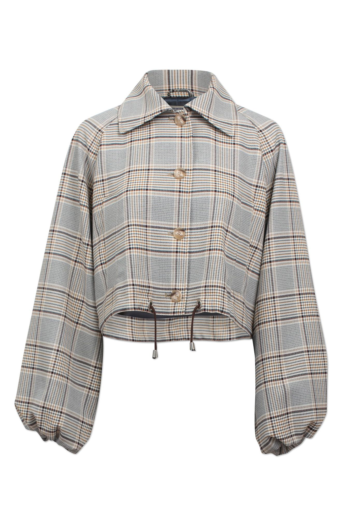 Full balloon sleeves and a cinchable hem bring soft volume to this cropped jacket in a neutral plaid pattern. Style Name:Baum Und Pferdgarten Blair Plaid Crop Jacket. Style Number: 6073311. Available in stores.