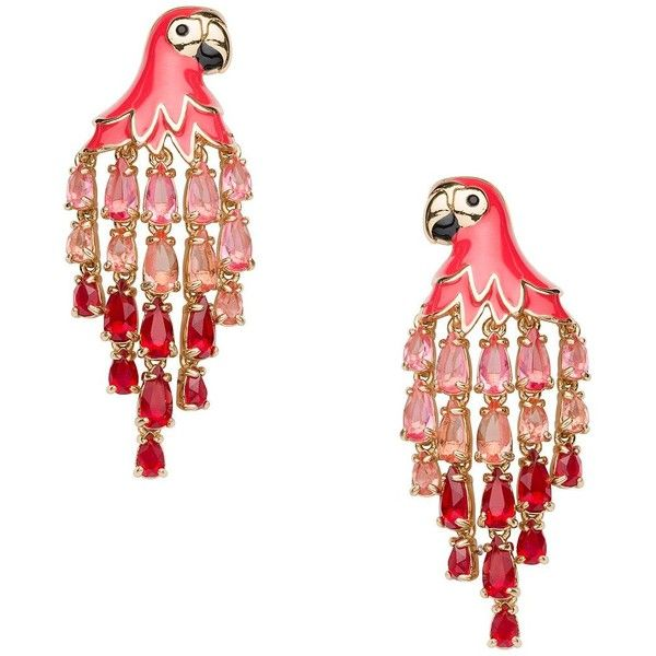 Kate Spade Out Of Office Parrot Statement Earrings ($90) ❤ liked on Polyvore featuring jewelry, earrings, kate spade earrings, kate spade, evening jewelry, kate spade jewelry and palm tree earrings