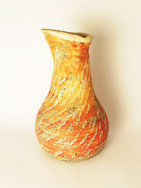 Reserved Unique Large Ceramic Orange Vase Handmade Pottery Vase