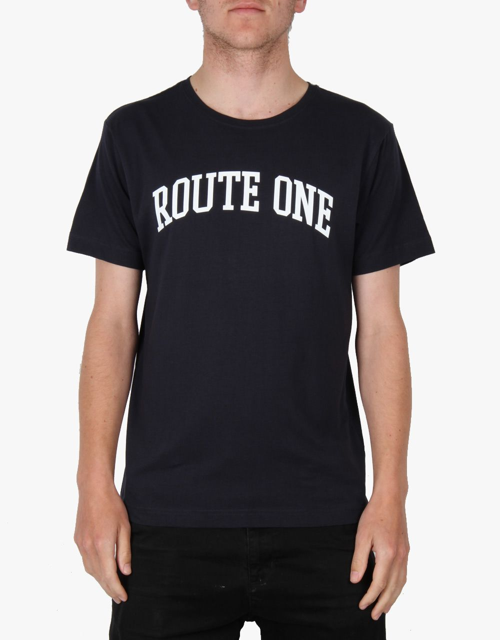 Route One College Logo T-Shirt - Flat Navy