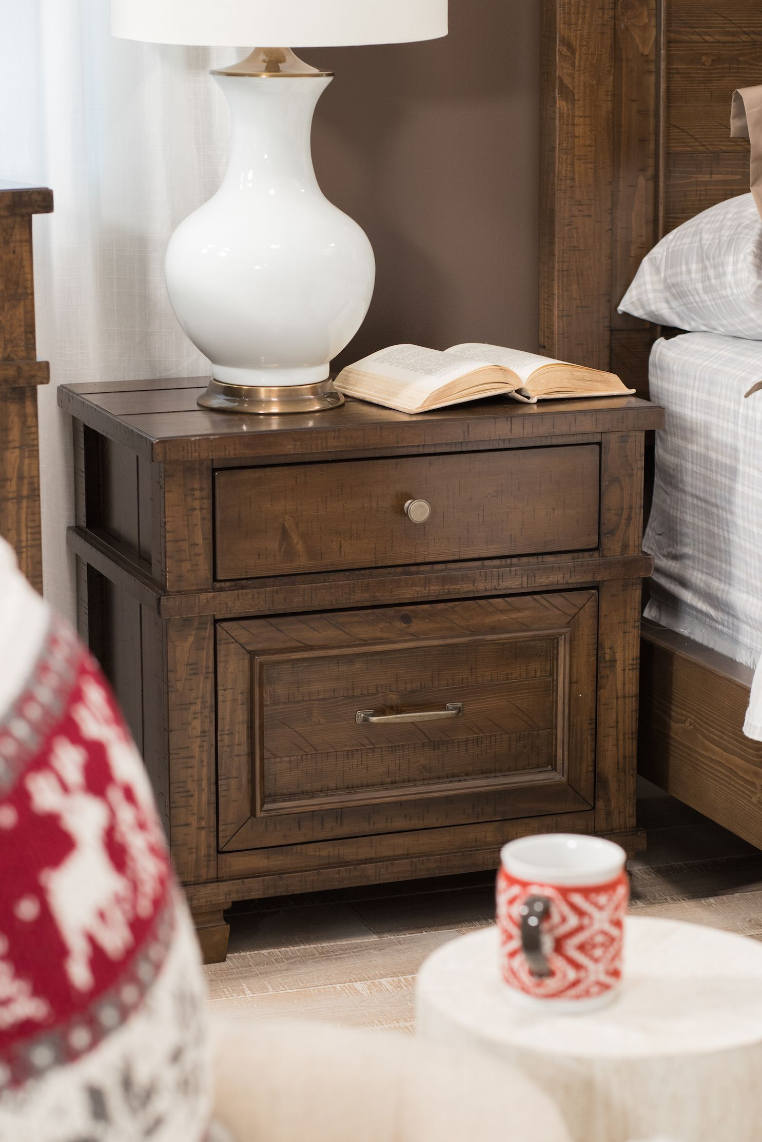 27 5 transitional two drawer nightstand in brown