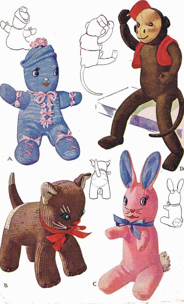 Vintage Stuffed Toy PATTERN 1443 Sock Monkey Doll Cat Kitten Bunny ...