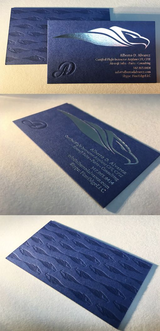 Elegant Navy Blue And Silver Foil Textured Business Card For A ...