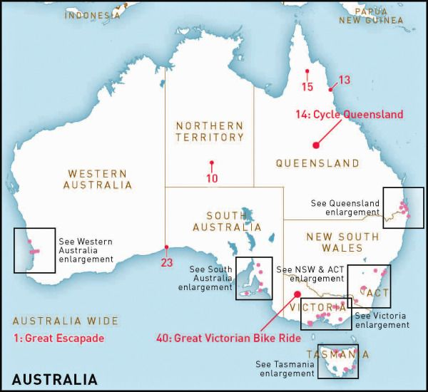 Map Of Australia Lakes.Australia S Top 50 Bike Riding Experiences Australia Bike