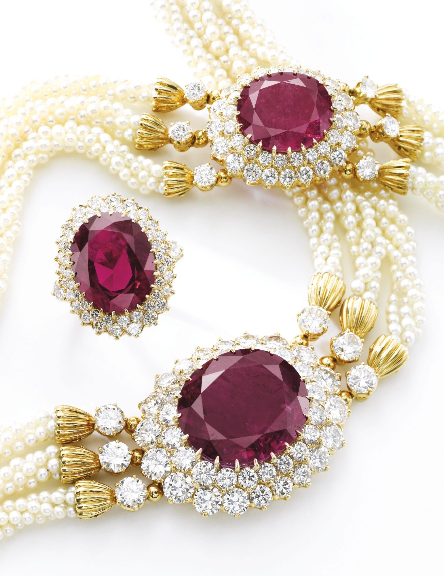 Impressive ruby seed pearl and diamond parure redraspberry bling