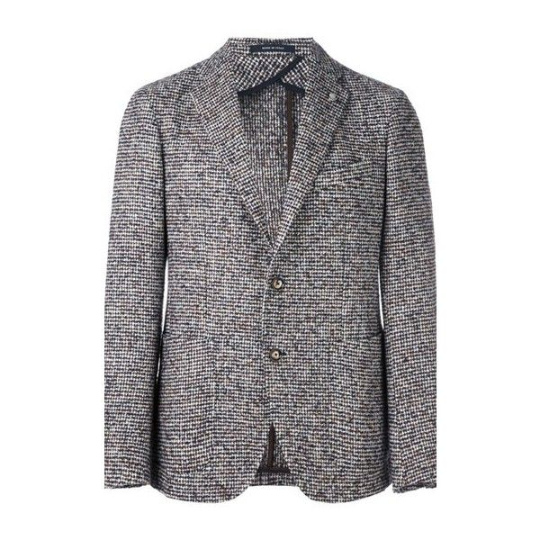 TAGLIATORE Notched Lapel Blazer (14.660 CZK) ❤ liked on Polyvore featuring men's fashion, men's clothing, men's sportcoats and multi