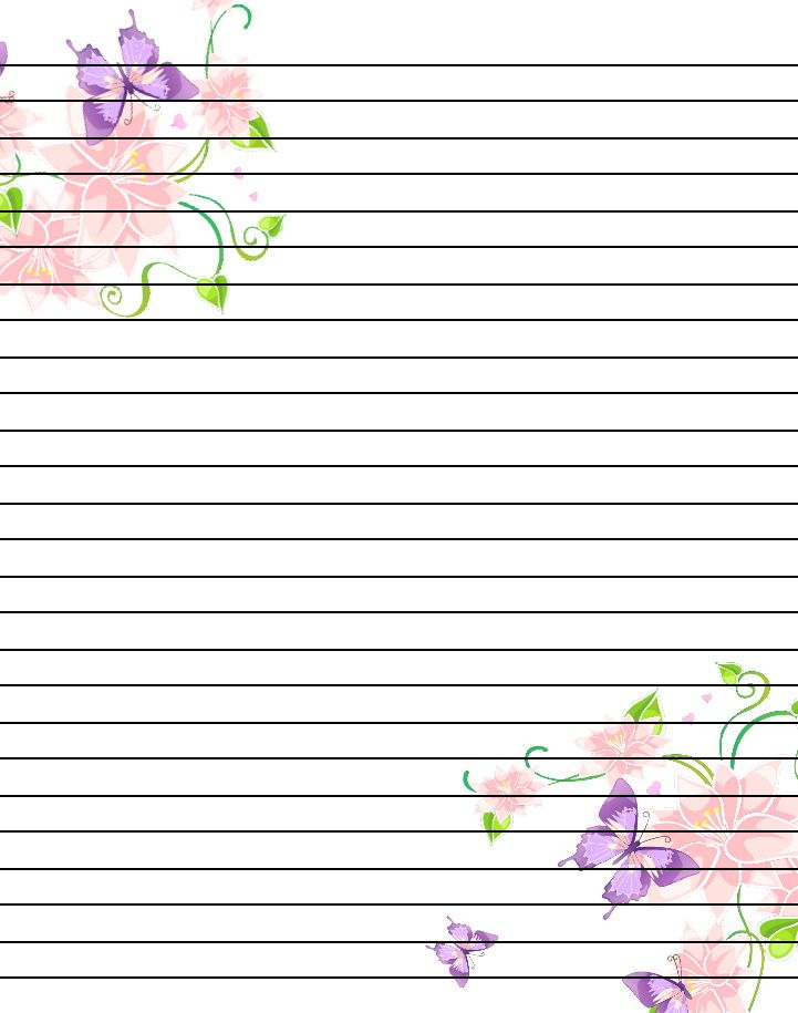 free printable flower notebook paper - Google Search PRINTABLES - lined pages for writing