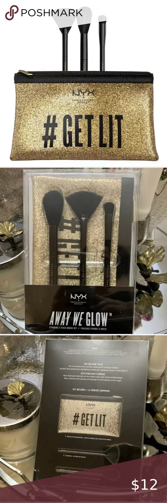 Away We Glow Brush Kit Brush kit with bag NWT NYX Makeup