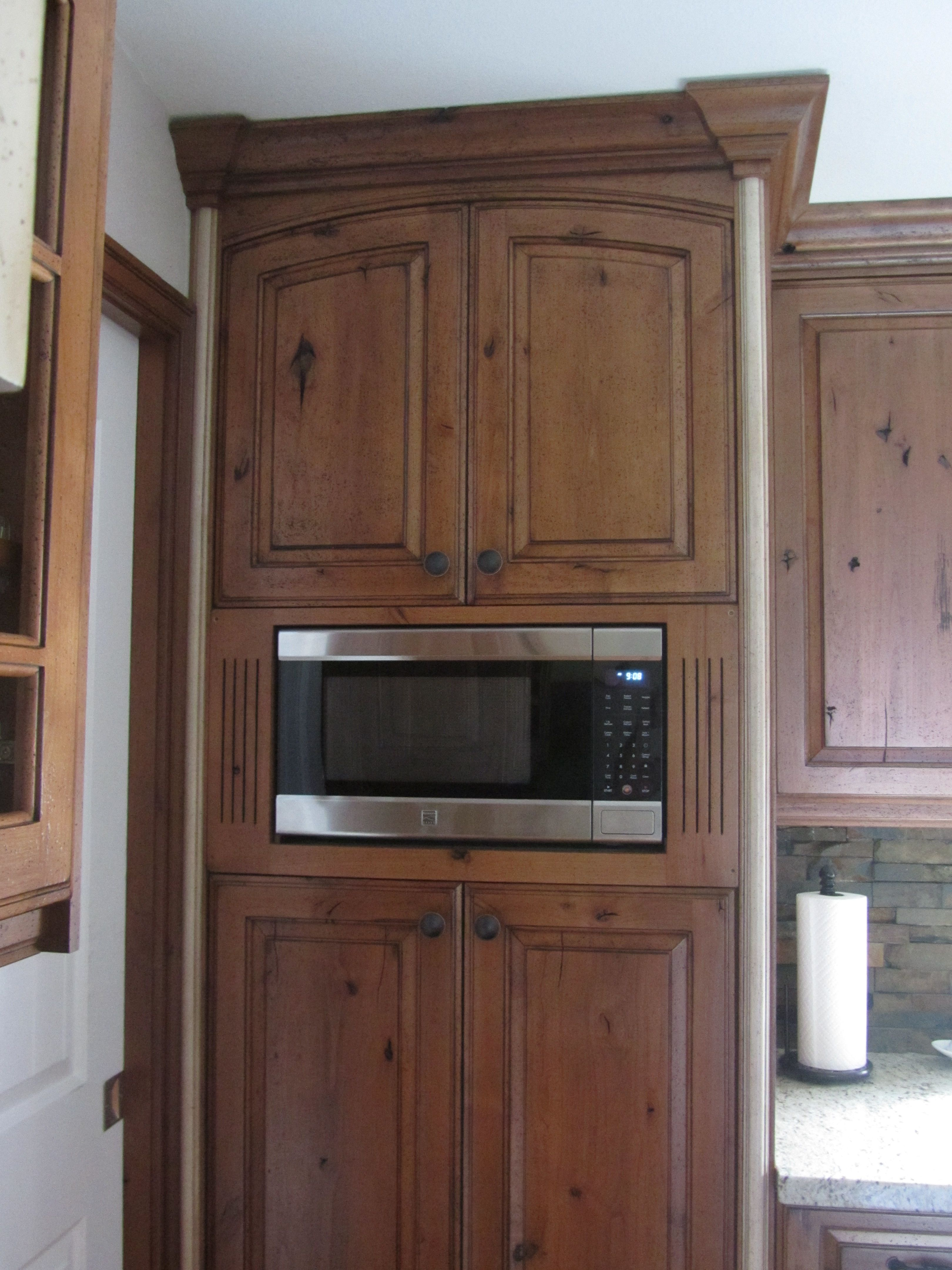 Microwave Cabinet With Pantry Cupboards On Bottom With Pull Out Drawers My Kitchen