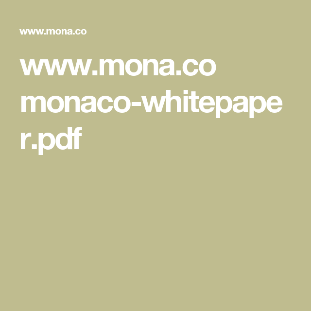 WwwMonaCo MonacoWhitepaperPdf  Crypto Currency