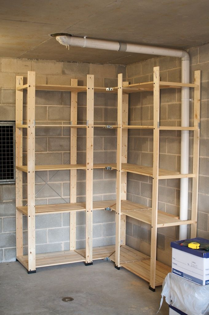 Extravagant Rough Brick Wall With Wooden Style Garage Storage Ideas Designed In L Shape To Fitly