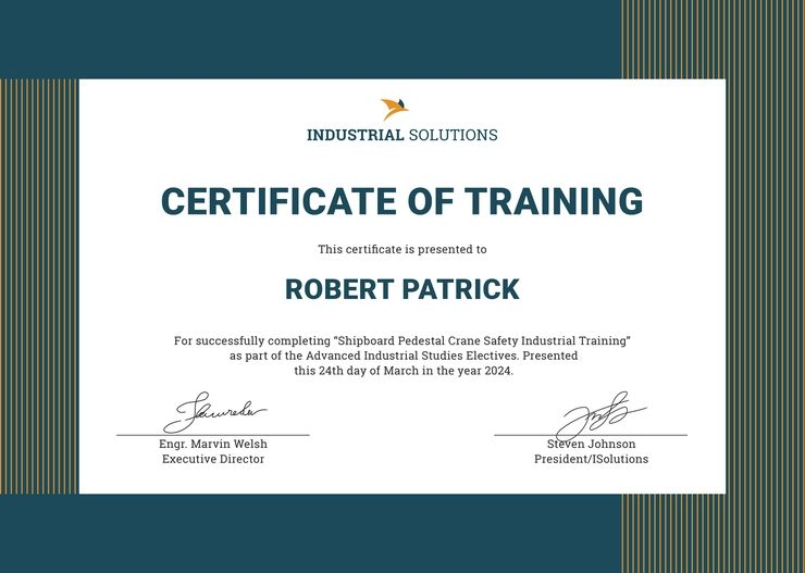 training certificate template doc