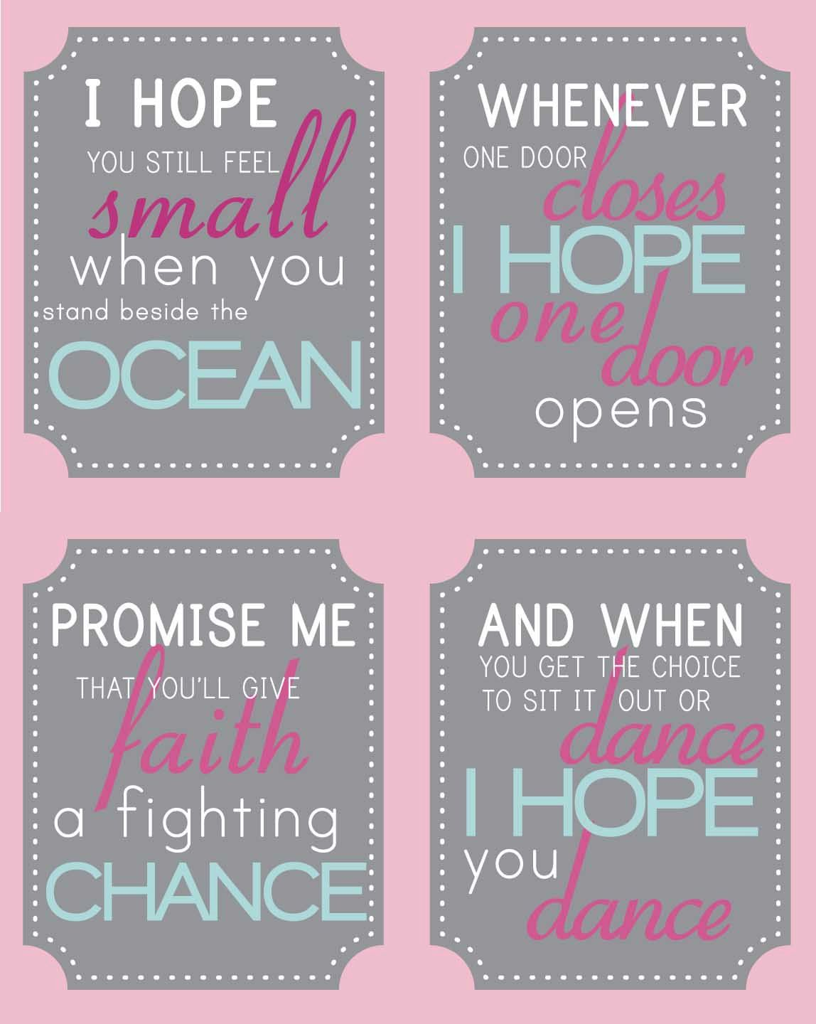 I Hope You Dance Quote Set Girl Bedroom Or By Bigmowthprints I