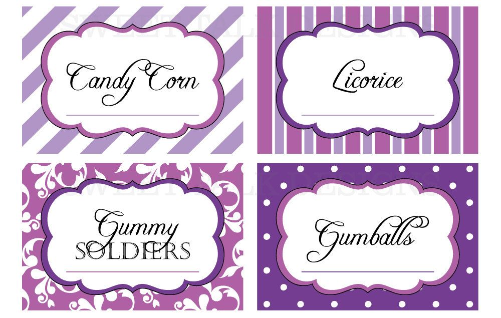 Purple Tag: Printable Candy Buffet Labels