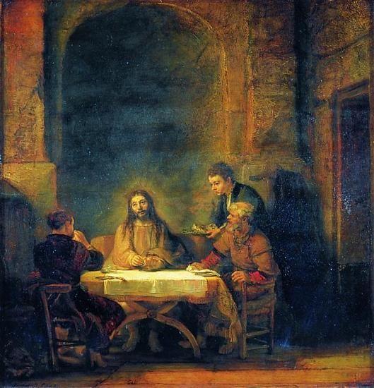 Rembrandt Kristus I Emmaus Maleri 1648 Louvre Scenen I Herberget Hvor Kristus Bryder Brodet Er Svobt I Et Mildt Gyldent Lys Rembrandt Kunstnere Malerier